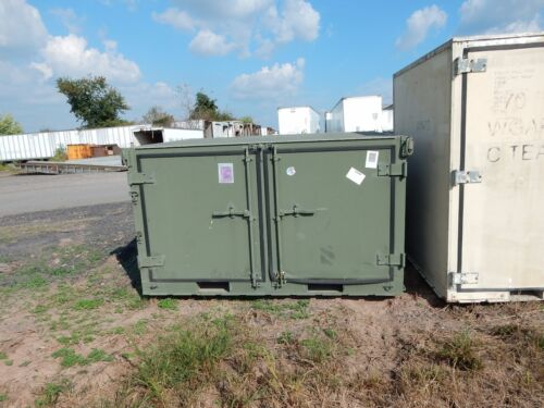 GREEN MILITARY STORAGE CONTAINER, BILATERAL OPENINGS, COMPARTMENTALIZED