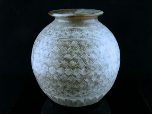 Antique Vintage Korean Buncheong Chrysanthemum Stoneware Vase ca. 1400 - 1940s