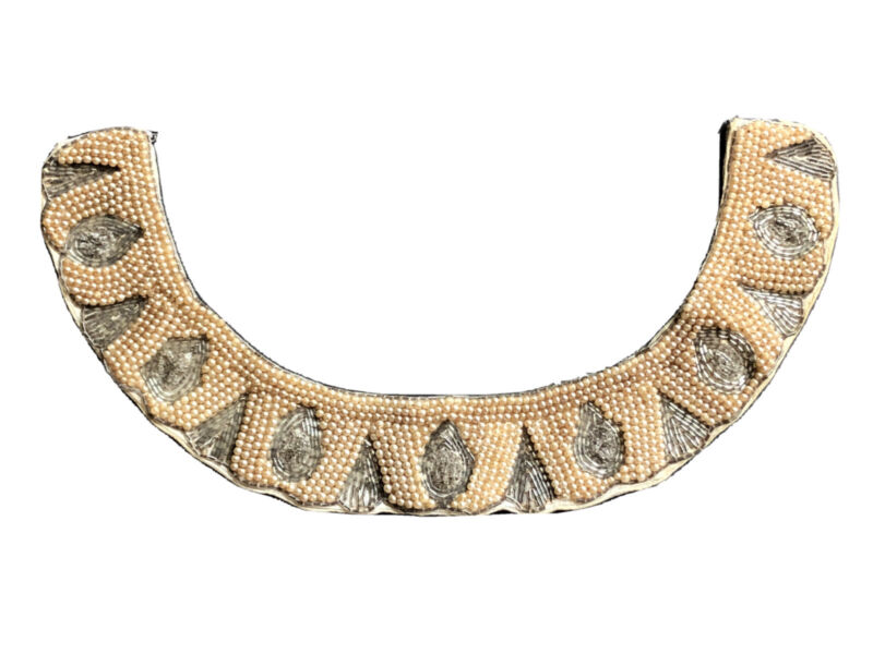 Vintage Pearl SILVER BEADED Collar Victorian ANTIQUE WOMENS Ladies Costume