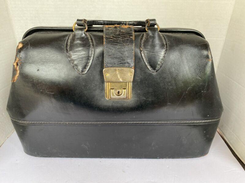 Vintage Schell 729-38 Black Genuine Cowhide Physician Doctors Bag
