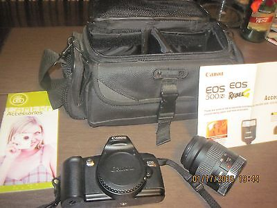 Canon EOS Rebel G camera with35-80mm lens, strap and bag