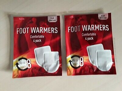 Foot Feet Toe Toes Warmers Warm Heating Pads 4 Pack Up to 8 Hours Heat One Size