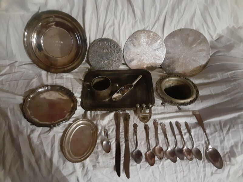 Silver Plate Mixed Lot of Over 20 Pieces-Dishes, Pot Holders, Utensils, & More