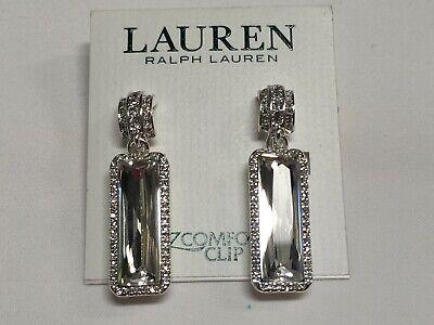 "Ralph Lauren Sparkles Crystal Bar Clip Silver Plated Earrings 1""3/4 Macy's P541"