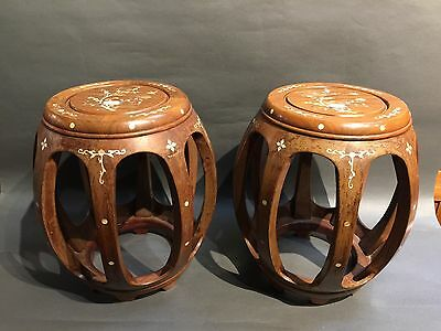 A Pair Of Chinese Antique Hardwood Stools