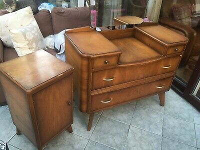 Retro Dressing table 4 draw with Vintage small side cupboard