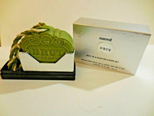 Vintage FABERGE BRUT For Men Medallion SOAP ON A ROPE 8 oz New In Box