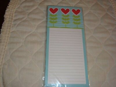 New Set Of 3-magnetic Note Padnotebook 50 Sheetsdesk Pad Pen Hearts On Stem