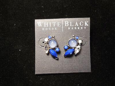White House Black Market Post Earrings Cluster Blue Gemstone Crystal - (Gemstone Cluster Earrings)