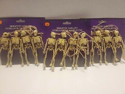 "Halloween Skeletons Garland Haunted House Halloween Decor 4 on 60"" Lot 3"