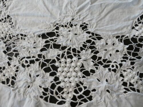 Beautiful Antique Vintage White Lace Tablecloth  GRAPES Cotton & So Ornate