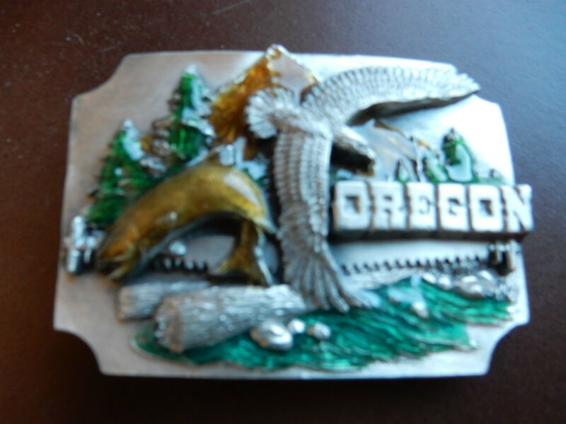 Siskyou Belt Buckle Oregon  Siskiyou Buckle Co. 1990  Ashland  pewter Fishing