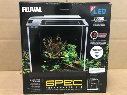 Fluval 10517 Spec III Aquarium Kit, 2.6 gal, White