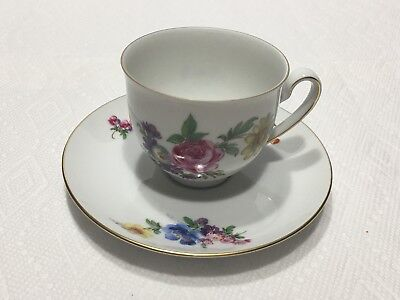 KAISER W. GERMANY TEA CUP & SAUCER WITH FLOWERS