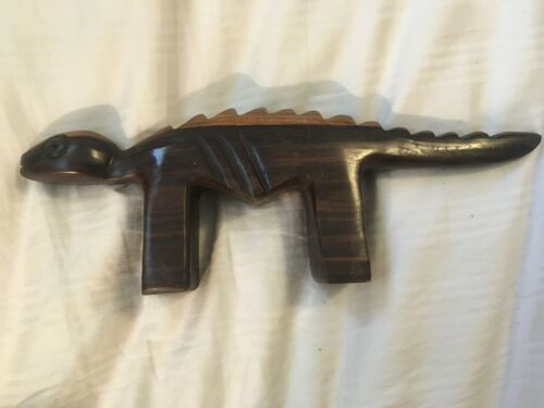 """LIZARD Hand Crafted Wood Carving Stylized Hardwood 10"""" L"""