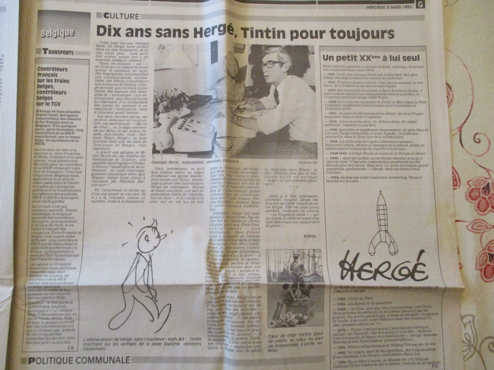 TINTIN: 10 ANS SANS HERGE, TINTIN POUR TOUJOURS - 03/03/1993 -