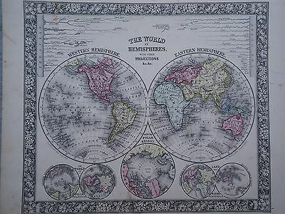 VINTAGE 1860 WORLD HEMISPHERES MAP ~ OLD ANTIQUE ATLAS MAP *FREE S&H 1864/111516