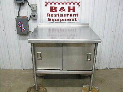 36 Stainless Steel Kitchen Work Table Cabinet W Under Shelf 2 Doors 3 X 30