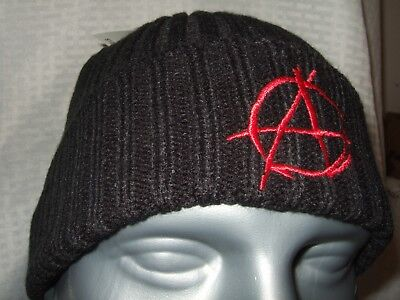 Black Knit Beanie Cap Hat (New Adult Black Anarchy Anarchist Red Embroidered Symbol Knit Beanie Cap Ski Hat )