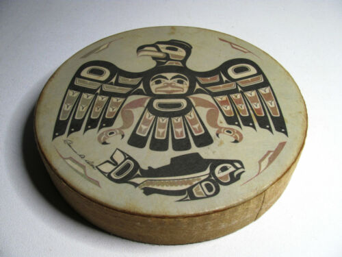 """Vintage Clarence A Wells Haida Hand Drum """"Fish Hawk"""" Signed  FREE SHIPPING!!"""