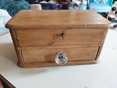 Old pine wooden 2 drawer mini chest storage/display