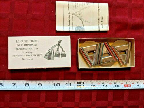 "Set of 3 LE-SURE BRAID Triangle Cones 1.5"" Fabric Folding Rug Braiding Aid Kit"