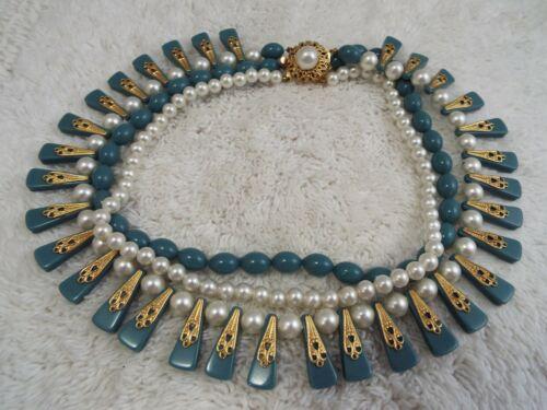 Goldtone White & Blue Bead Three StrandNecklace (A54)
