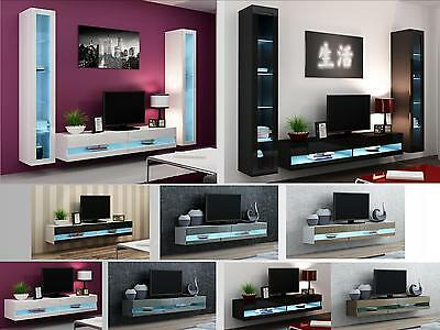 High Gloss Living Room Furniture - TV Stand, Wall Mounted Cabinet - LED Lights
