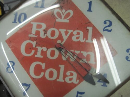 VINTAGE ROYAL CROWN COLA CLOCK  W/ CURVED GLASS FRONT   (EARLY 60