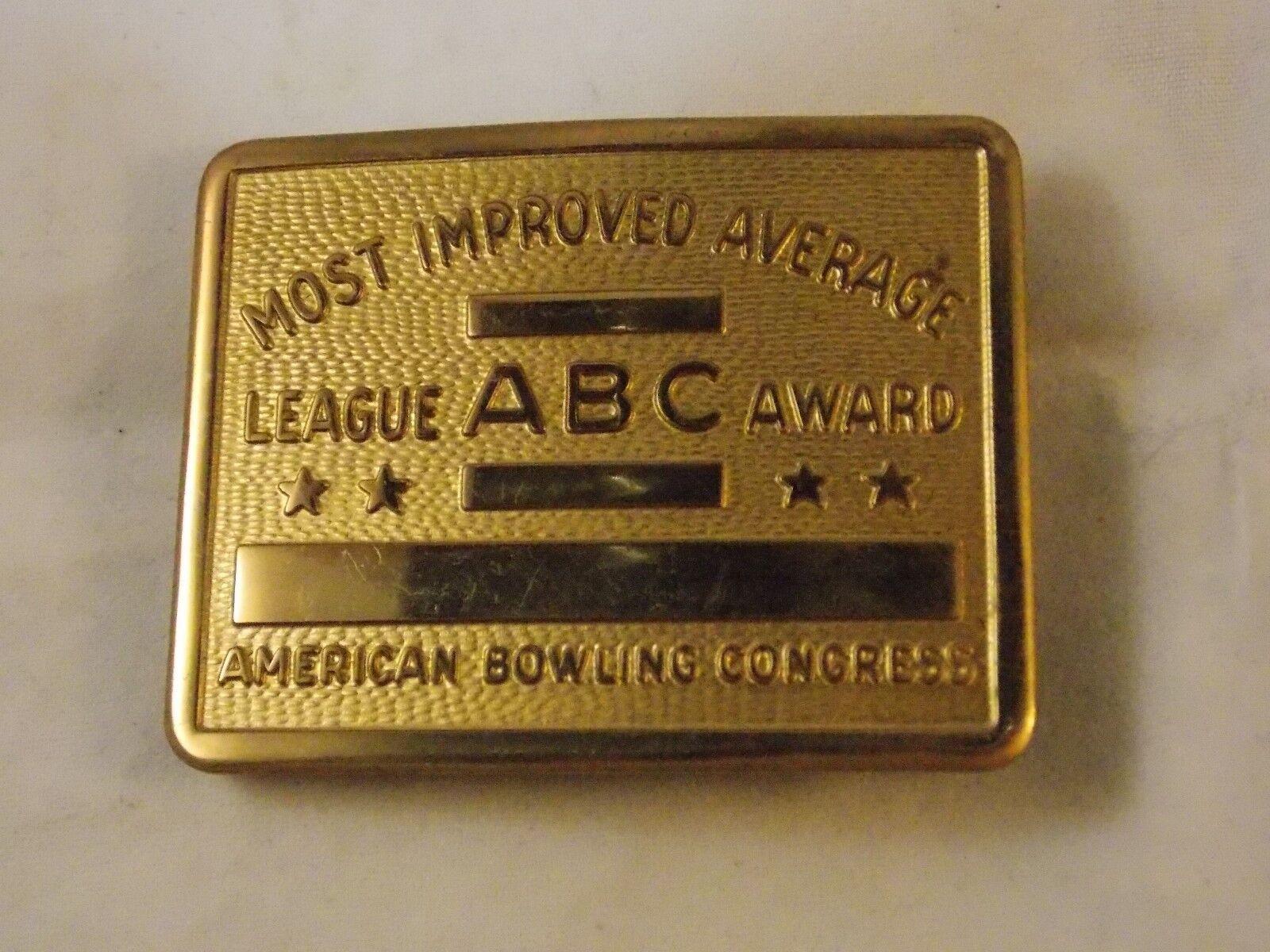 """Vtg American Bowling Congress """"most Improved Average"""" Belt Buckle"""