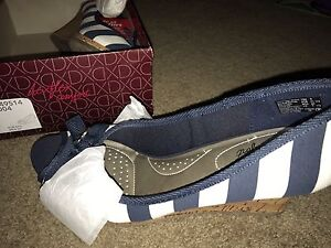 White and blue wedge heel