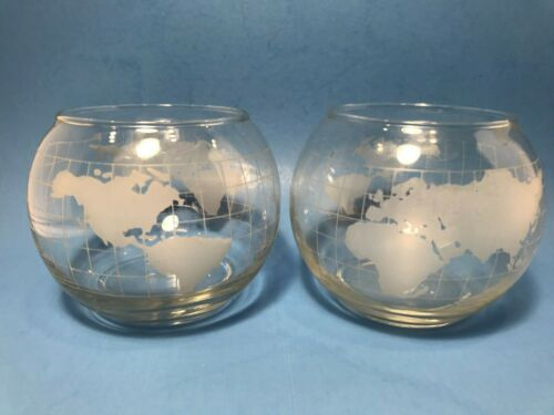 Vintage Nestle Nescafe Glass World Globe Tea Light Candle Holders Set of 2 RARE