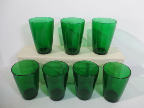 Tumblers Anchor Hocking Juice Glasses Charm Forest Green Holiday Vtg 7pcs