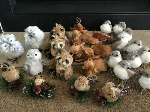 Set of 24 Woodland Animal Tree Ornaments Buri Bristle & Faux Fur