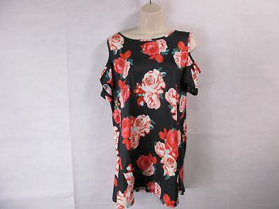 For G   Pl  Womens L Black Floral Print Cut Out Shoulder Short Sleeve Tops  New