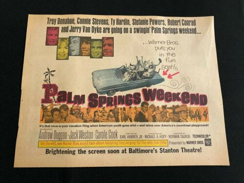 #25 PALM SPRINGS WEEKEND Sunday Comics Half Page Movie Ad TROY DONOHUE 1963