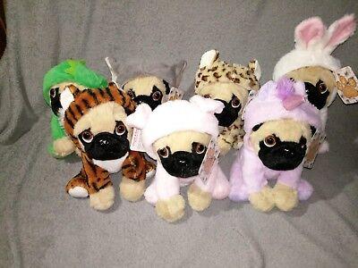 Neu Mops mit Kostüm Anzug Einhorn Tiger Hase Elefant Plüsch Kuscheltier Hund Süß (Einhorn Kostüm Hund)