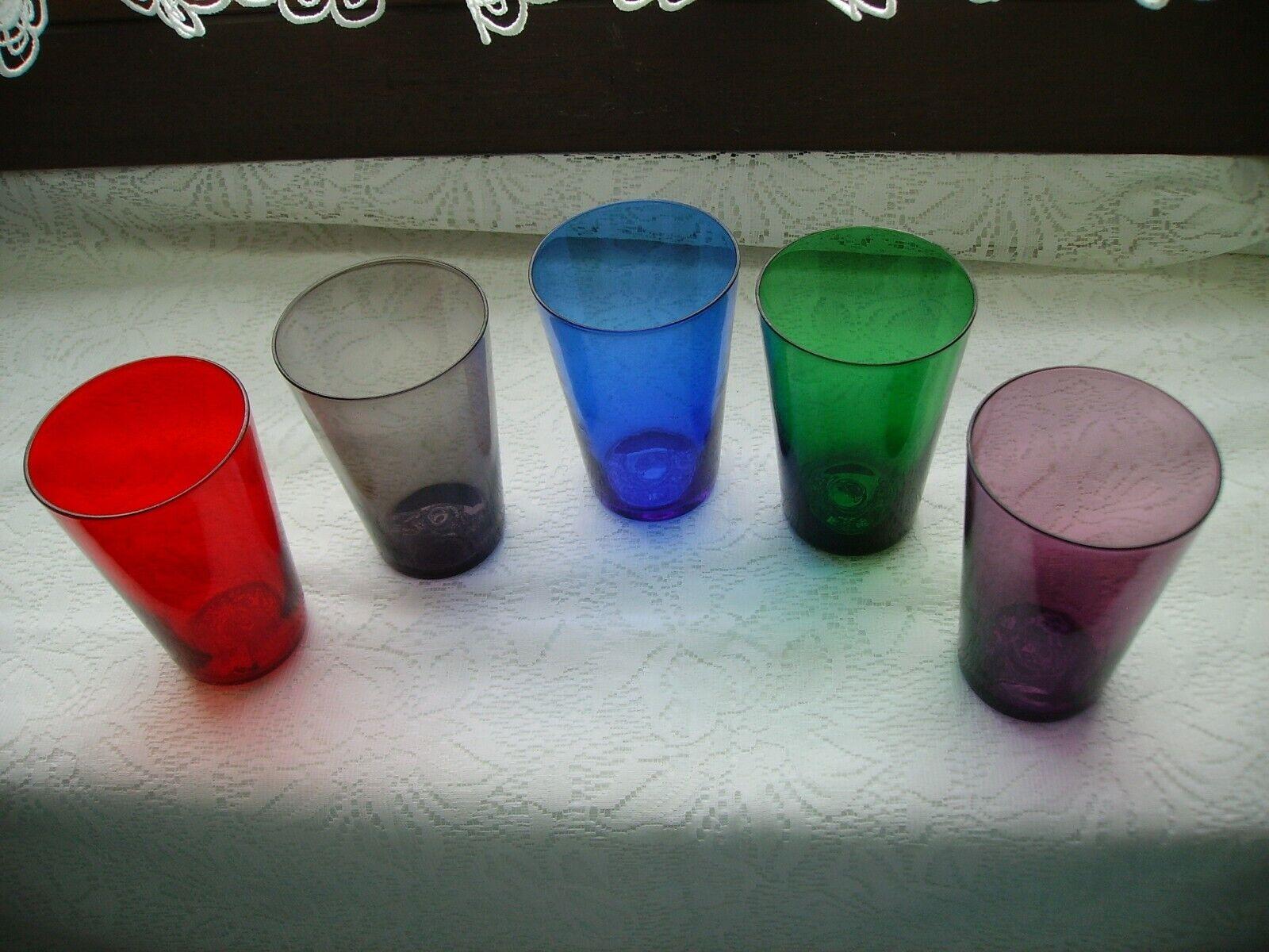 5 Gläser, Set Bunt, feines Glas  60er Jahre