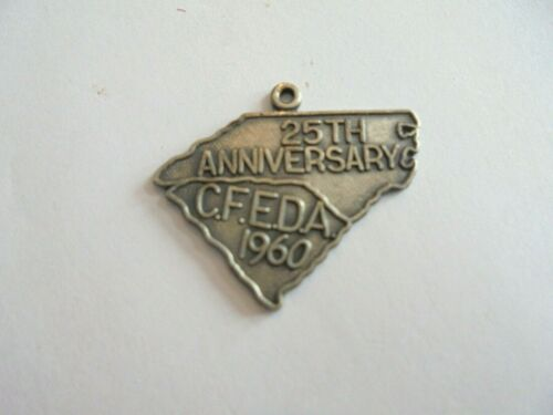 Vintage 1960 CFEDA 25th Anniv. North and South Carolina Sterling Silver Charm