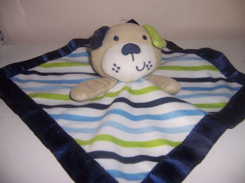Garanimals Blue Green Stripe Dog Baby Blanket Navy Satin Security Lovey EUC