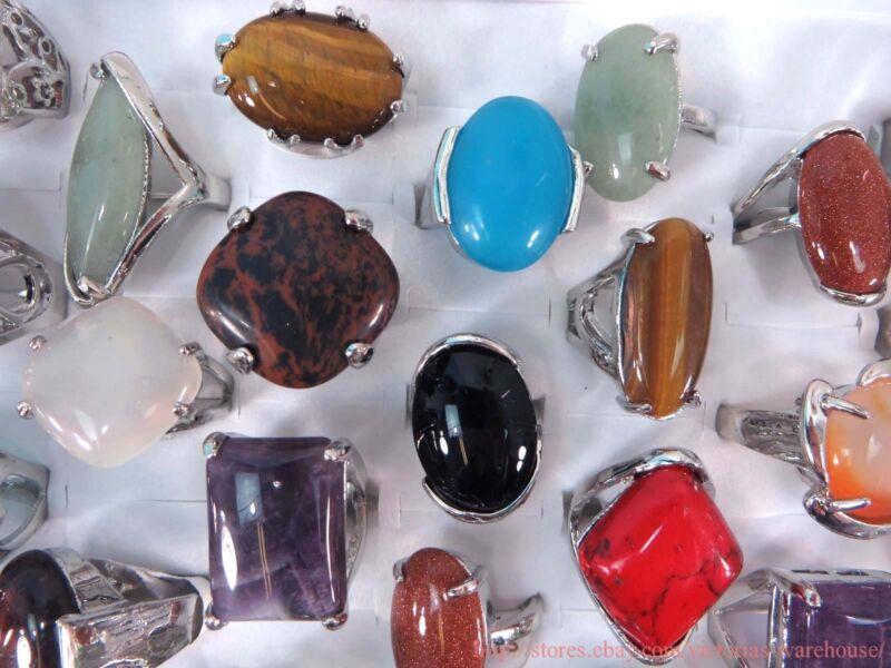 20pcs fashion rings wholesale bulk genuine large agate gemstones