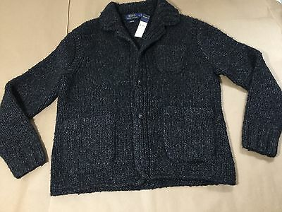 MENS NWT $695 POLO RALPH LAUREN HAND KNIT WOOL CARDIGAN BLAZER SWEATER L GRAY