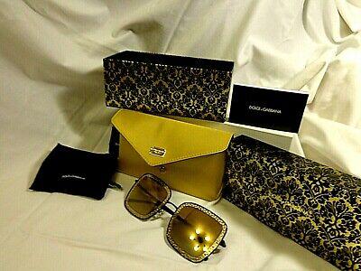 100 % Original DOLCE & GABBANA Sonnenbrille gold verspiegelt mit Etui  NEU OVP