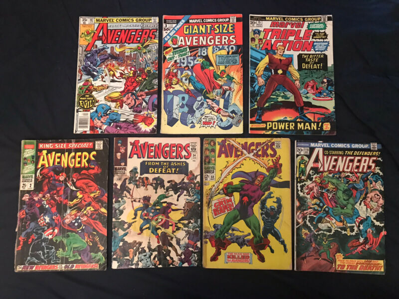 AVENGERS Silver/Bronze Lot of 7 comics #24,52,118,182, Annual 2, Giant-Size 3