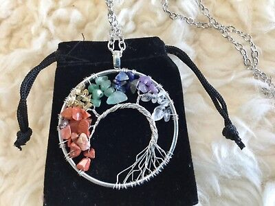 Tree Of Life Pendant Necklace Birthstone 7 Crystal Chakra Healing Powers Gift