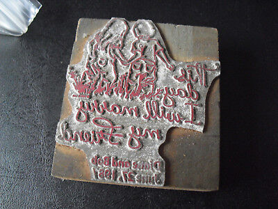 Vintage Boy And Girl With Motto Wood Metal Letterpress Print Block Stamp