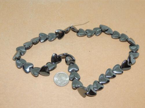 Hematite Gemstone 12x3.5mm Heart Beads 15+ inch strand (16088)