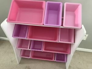 Toy storage shelving unit / bins for kids' bedroom/playroom