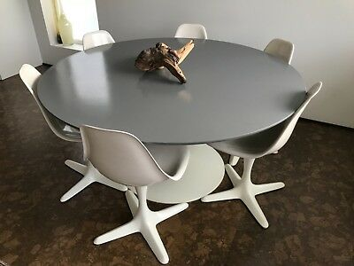 MCM Burke Saarinen Style TULIP Dining Table & 6 Chairs with Propeller Bases for sale  Chicago