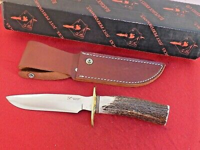 vintage BlackJack genuine STAG Model 5 Fixed Blade mint carbon knife & sheath